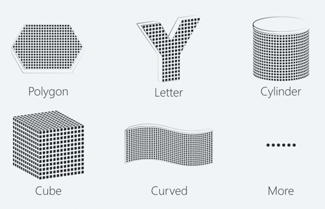 S2 Series Flexible In Shape, Polygon, Letter, Cylinder, Cube Curved